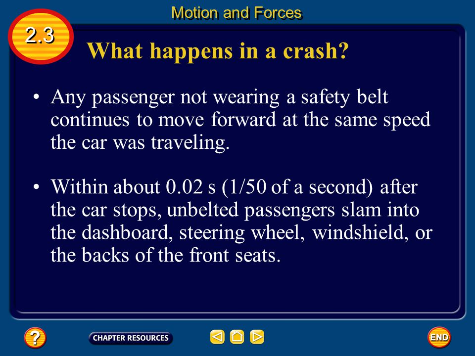 Motion and Forces 2.3. What happens in a crash