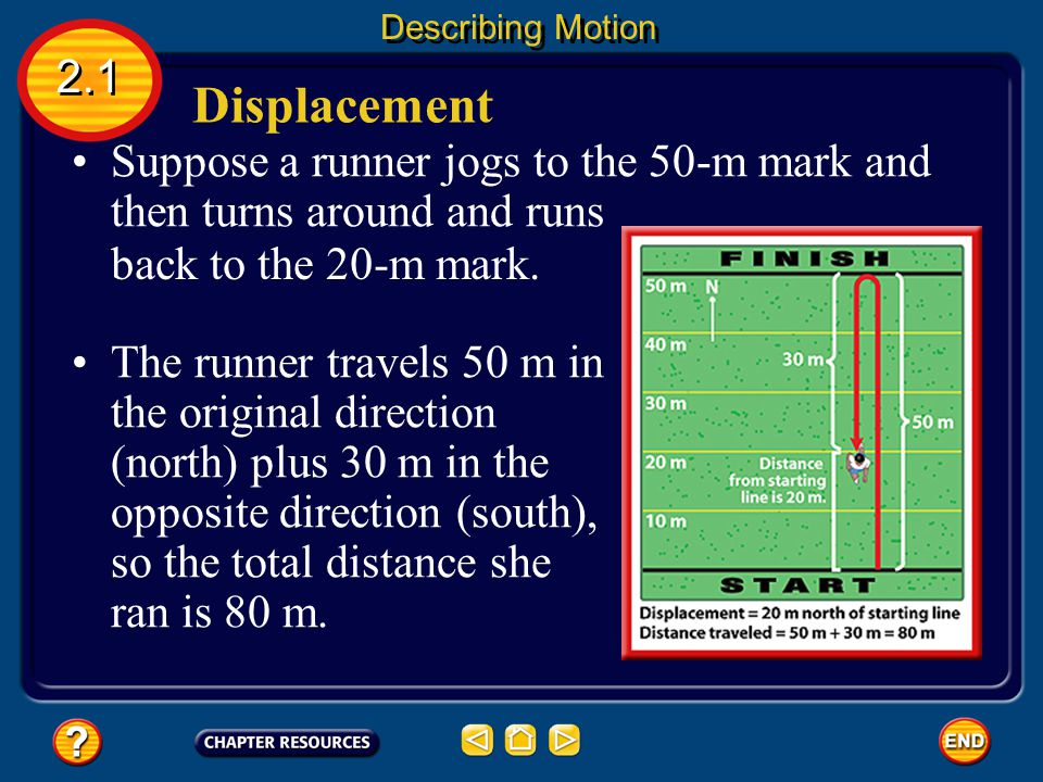 Describing Motion 2.1. Displacement. Suppose a runner jogs to the 50-m mark and then turns around and runs.