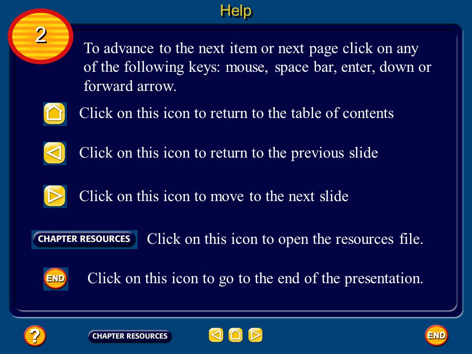 Help 2. To advance to the next item or next page click on any of the following keys: mouse, space bar, enter, down or forward arrow.