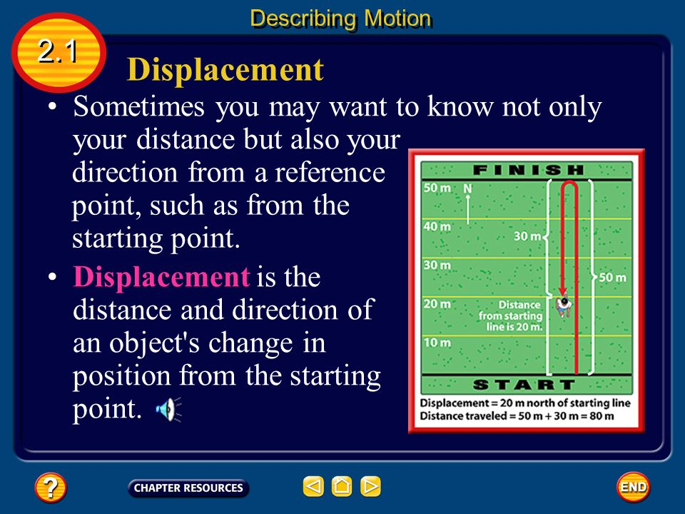 Describing Motion 2.1. Displacement. Sometimes you may want to know not only your distance but also your.