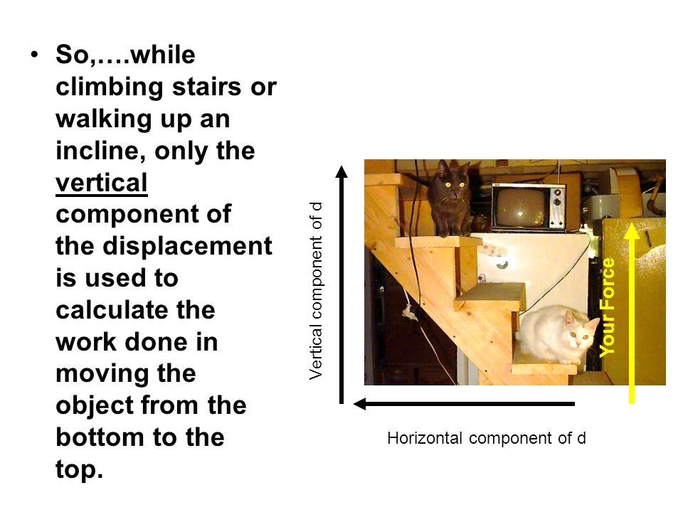 So,….while climbing stairs or walking up an incline, only the vertical component of the displacement is used to calculate the work done in moving the object from the bottom to the top.