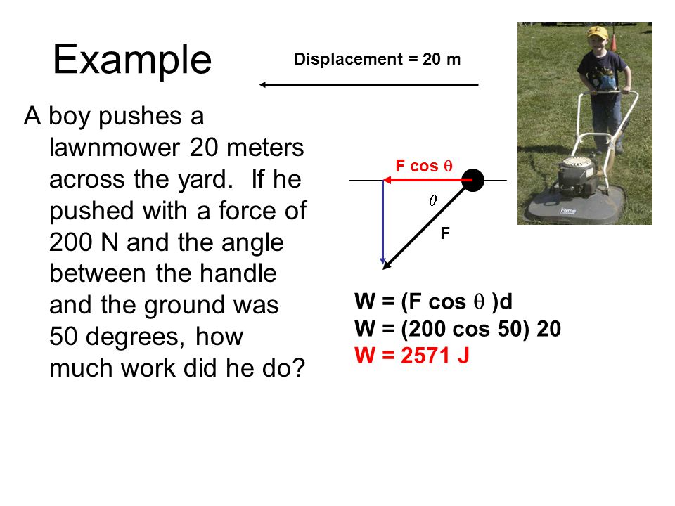 Example Displacement = 20 m.