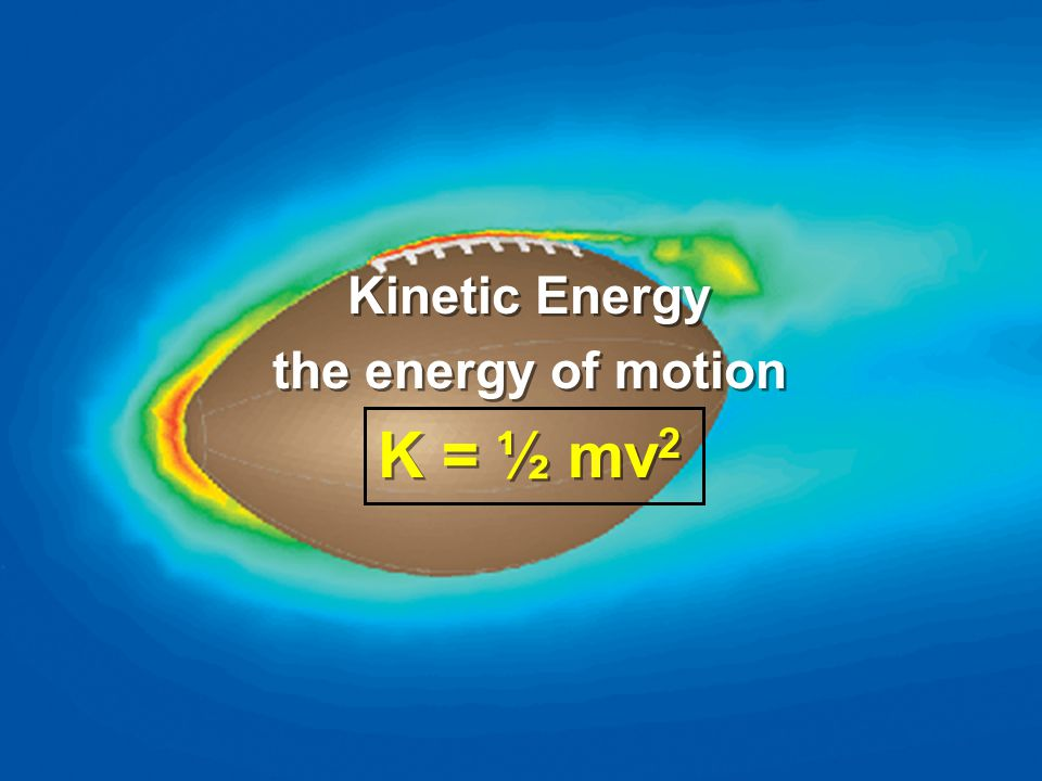 Kinetic Energy the energy of motion K = ½ mv2