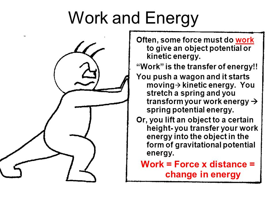 Work = Force x distance = change in energy