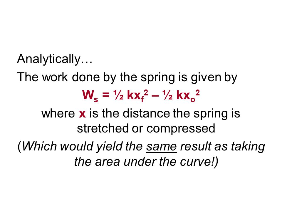 where x is the distance the spring is stretched or compressed