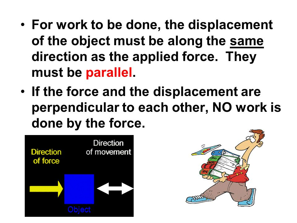 For work to be done, the displacement of the object must be along the same direction as the applied force. They must be parallel.