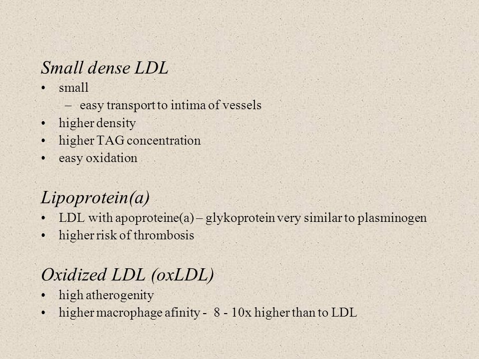 Small dense LDL Lipoprotein(a) Oxidized LDL (oxLDL) small