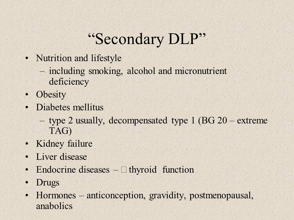 Secondary DLP Nutrition and lifestyle