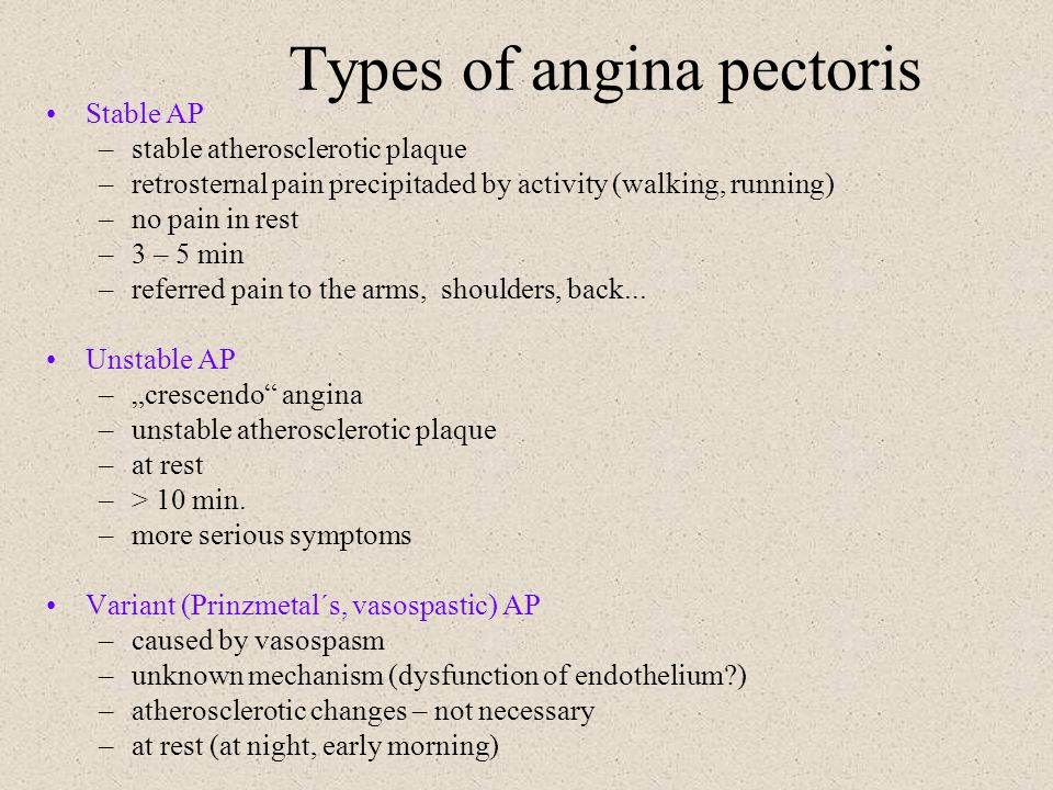Types of angina pectoris