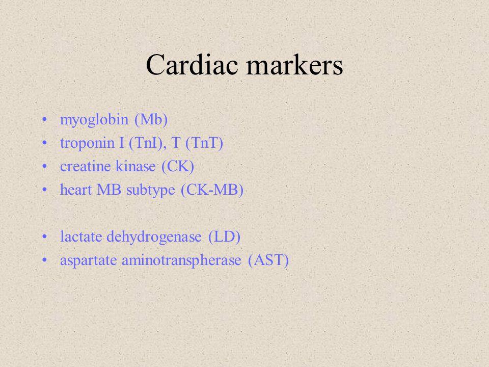 Cardiac markers myoglobin (Mb) troponin I (TnI), T (TnT)