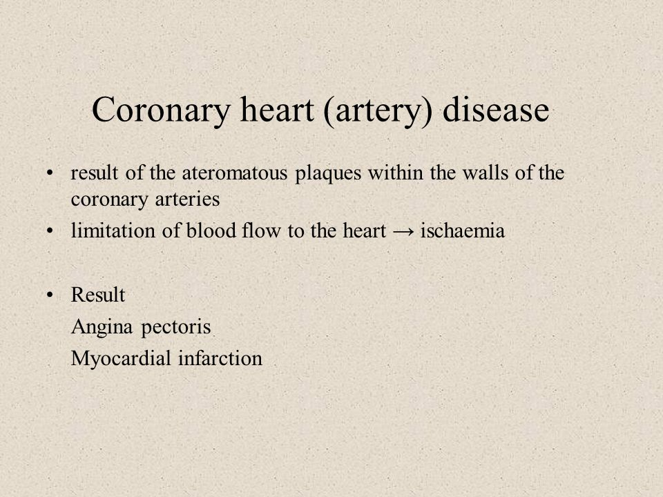 Coronary heart (artery) disease