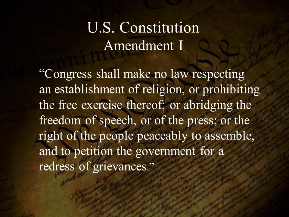U.S. Constitution Amendment I