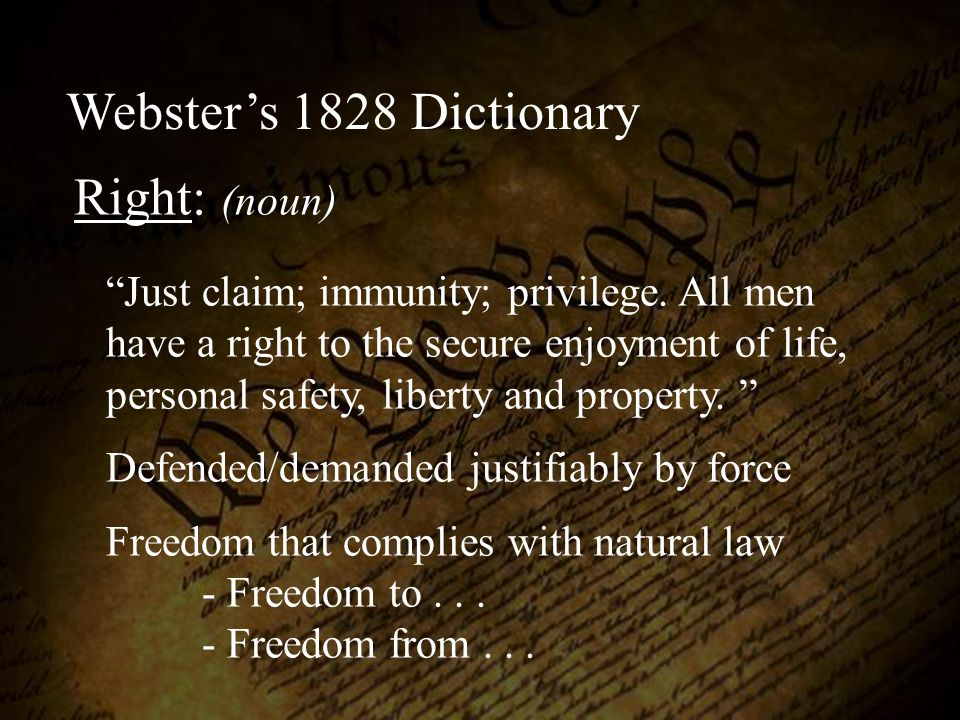 Webster's 1828 Dictionary Right: (noun)