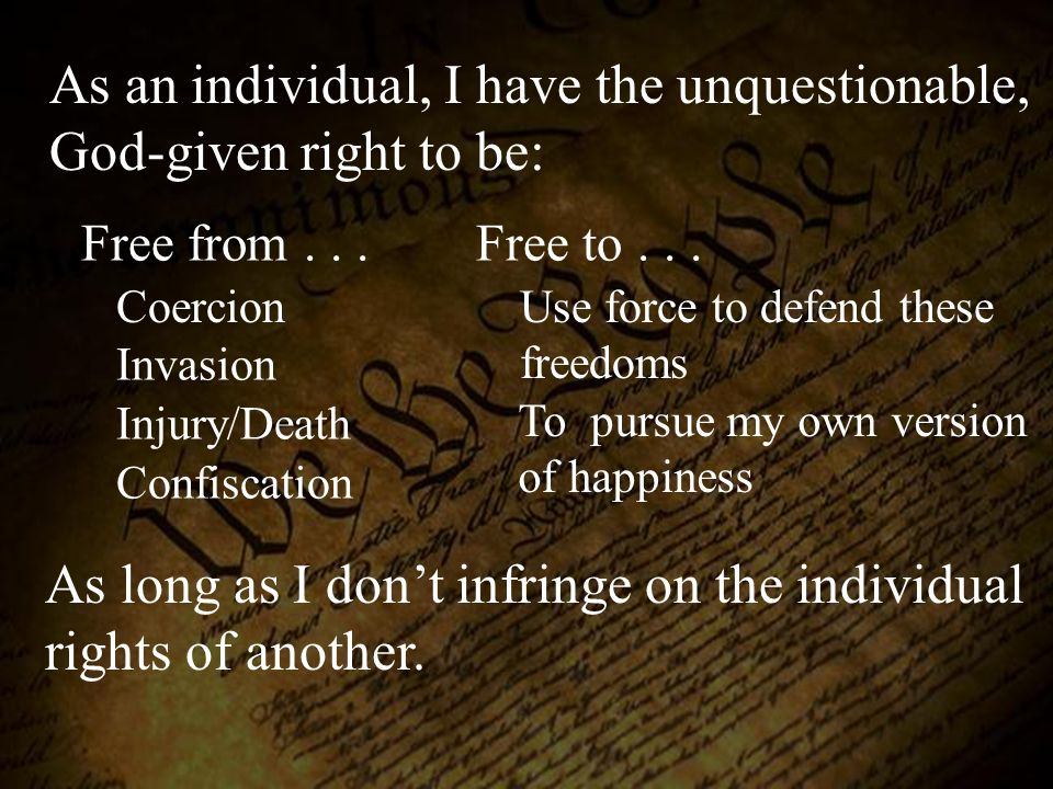 As an individual, I have the unquestionable, God-given right to be: