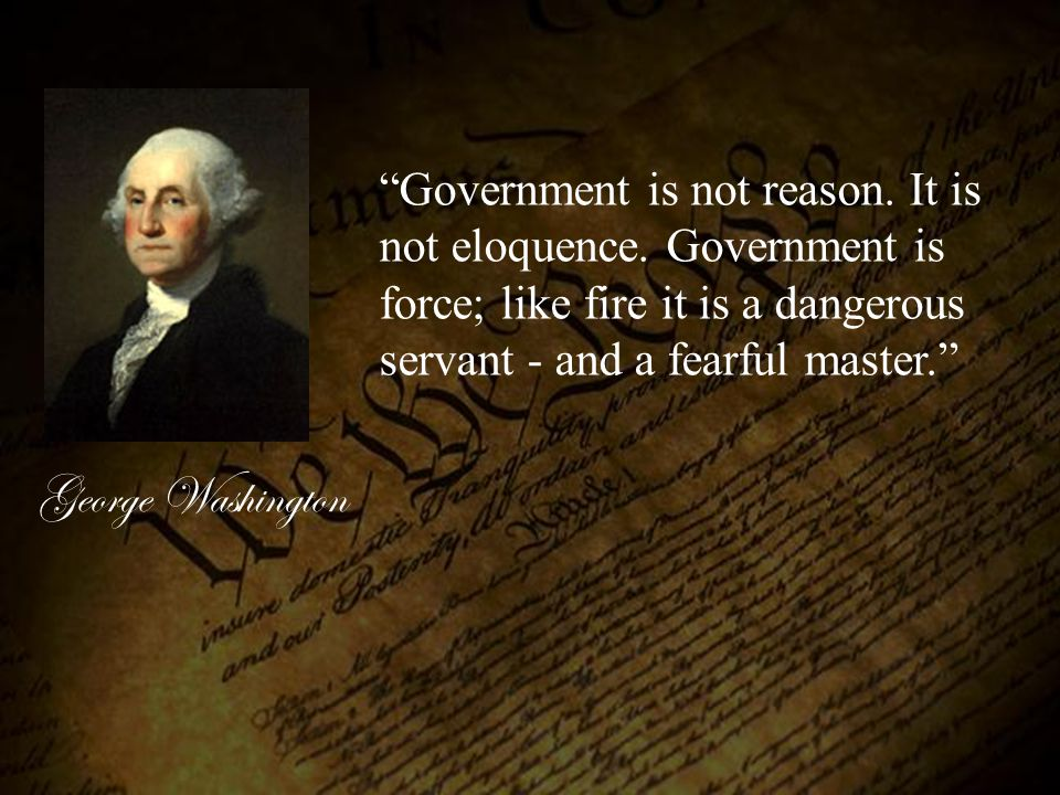 Government is not reason. It is not eloquence