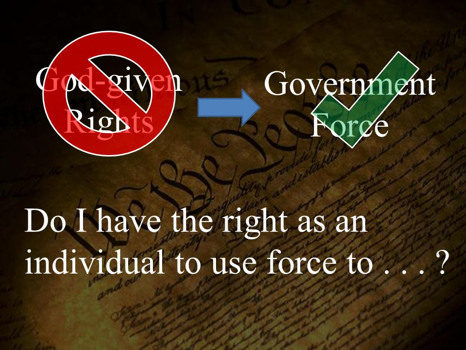 Do I have the right as an individual to use force to . . .
