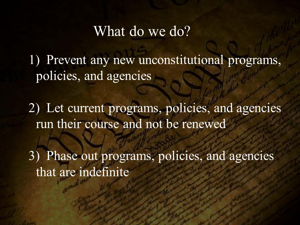 What do we do Prevent any new unconstitutional programs, policies, and agencies.