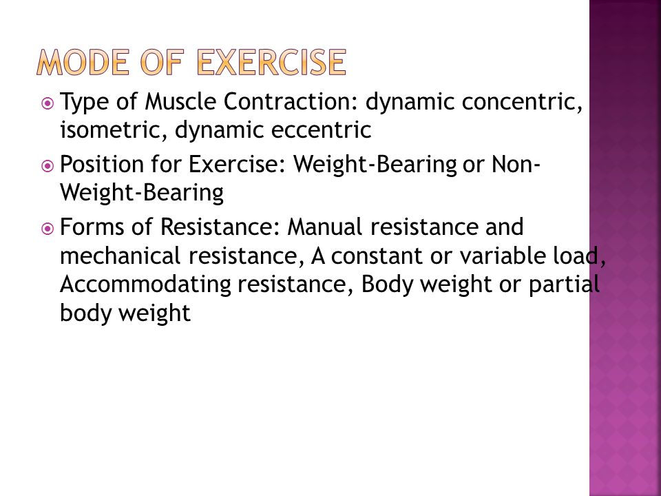Mode of Exercise Type of Muscle Contraction: dynamic concentric, isometric, dynamic eccentric.