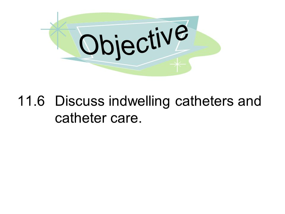 Objective 11.6 Discuss indwelling catheters and catheter care.