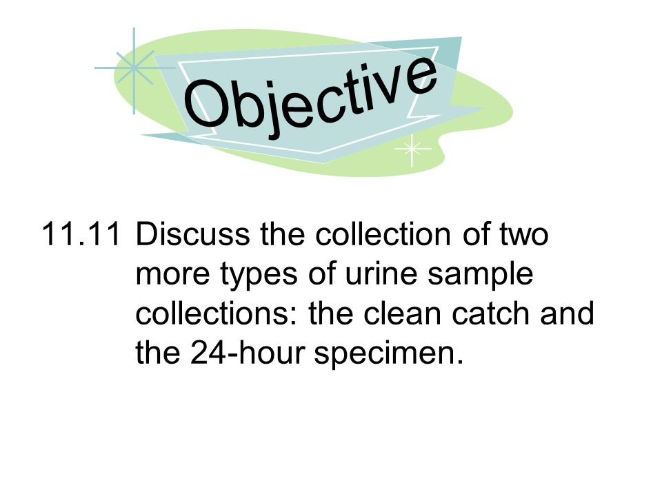 Objective 11.11 Discuss the collection of two more types of urine sample collections: the clean catch and the 24-hour specimen.