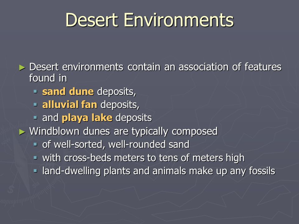 Desert Environments Desert environments contain an association of features found in. sand dune deposits,