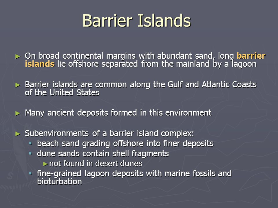 Barrier Islands On broad continental margins with abundant sand, long barrier islands lie offshore separated from the mainland by a lagoon.