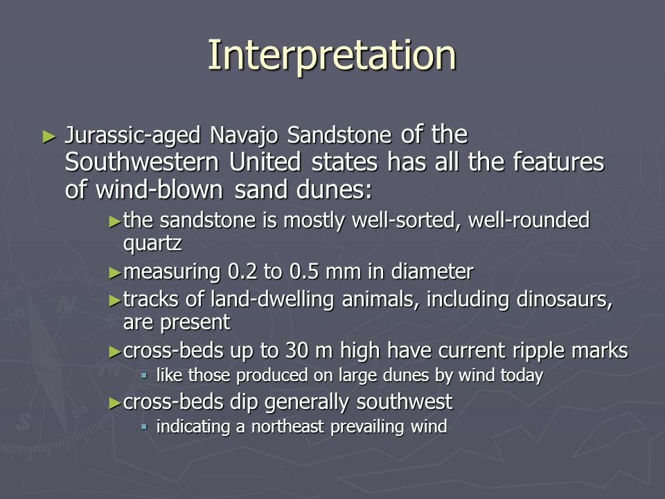Interpretation Jurassic-aged Navajo Sandstone of the Southwestern United states has all the features of wind-blown sand dunes: