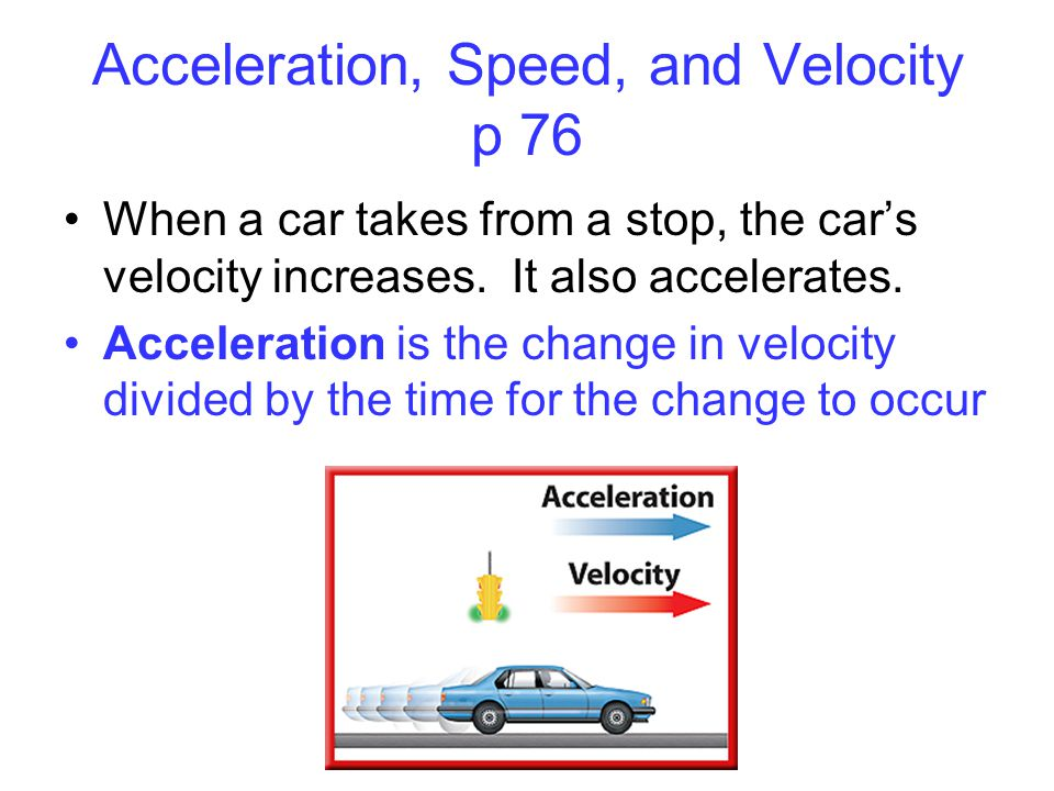 Acceleration, Speed, and Velocity p 76
