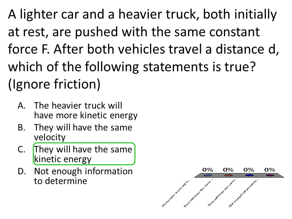 A lighter car and a heavier truck, both initially at rest, are pushed with the same constant force F. After both vehicles travel a distance d, which of the following statements is true (Ignore friction)