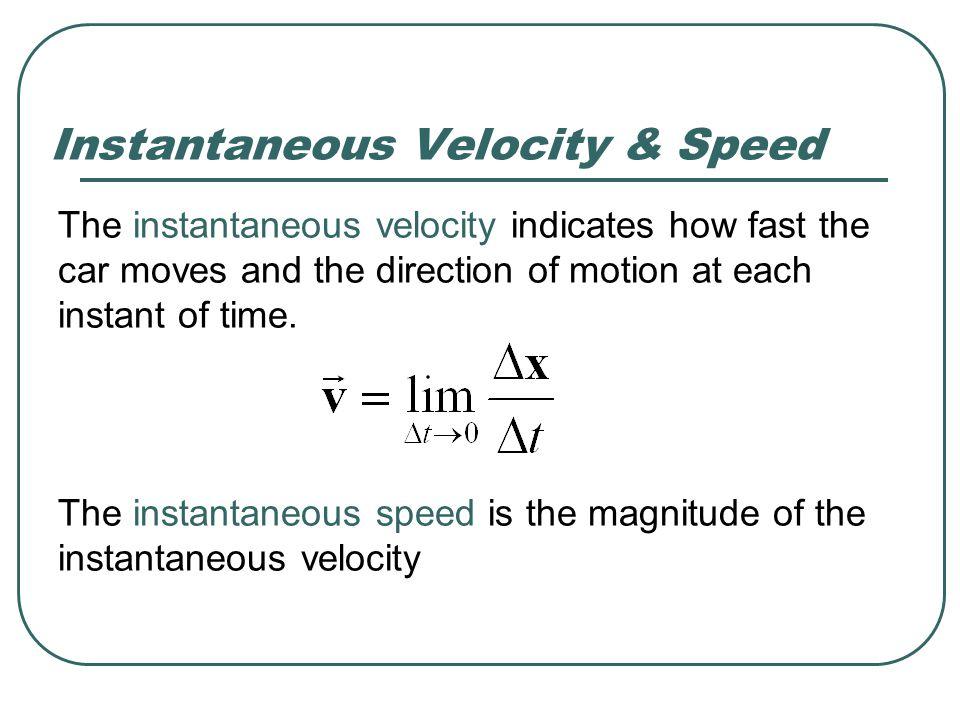 Instantaneous Velocity & Speed