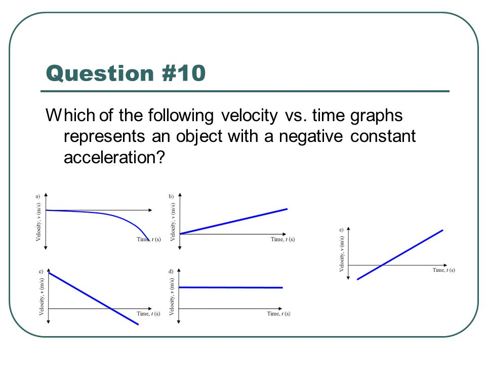 Question #10 Which of the following velocity vs.