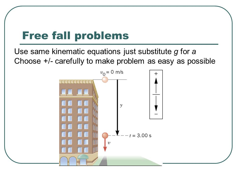 Free fall problems Use same kinematic equations just substitute g for a.