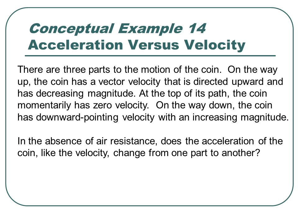Conceptual Example 14 Acceleration Versus Velocity