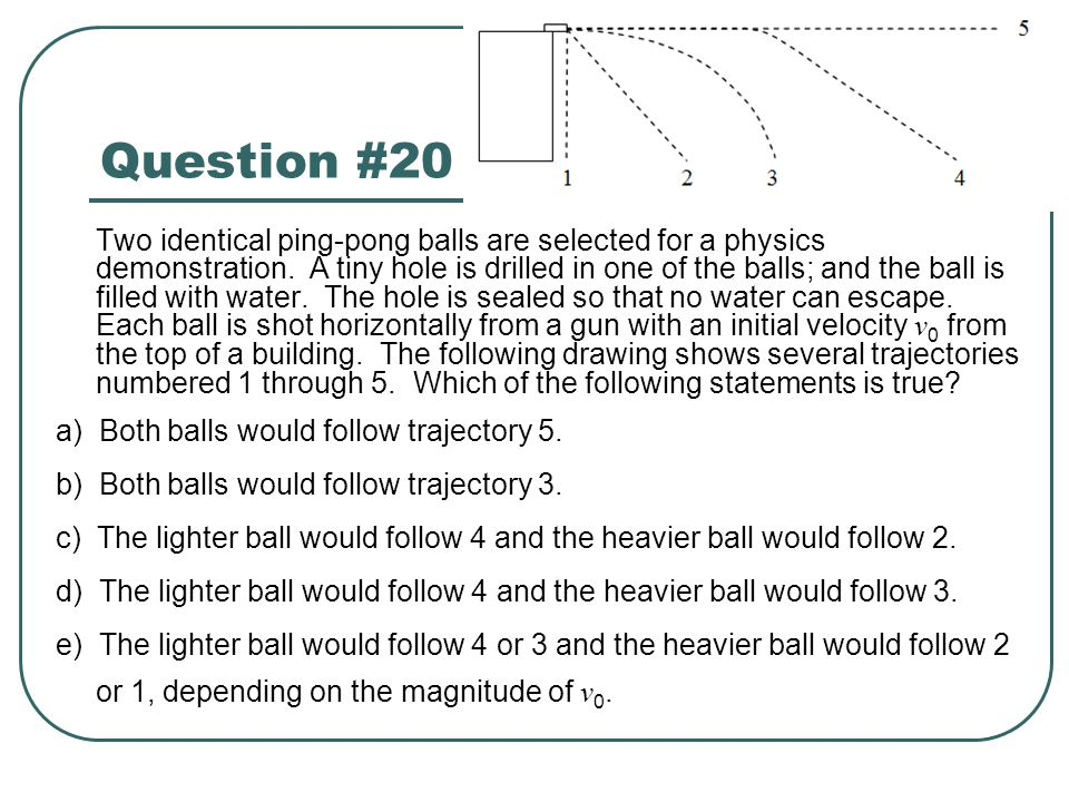 Question #20 a) Both balls would follow trajectory 5.