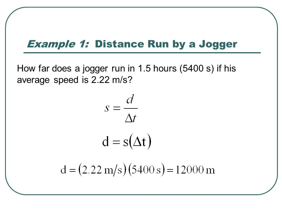 Example 1: Distance Run by a Jogger