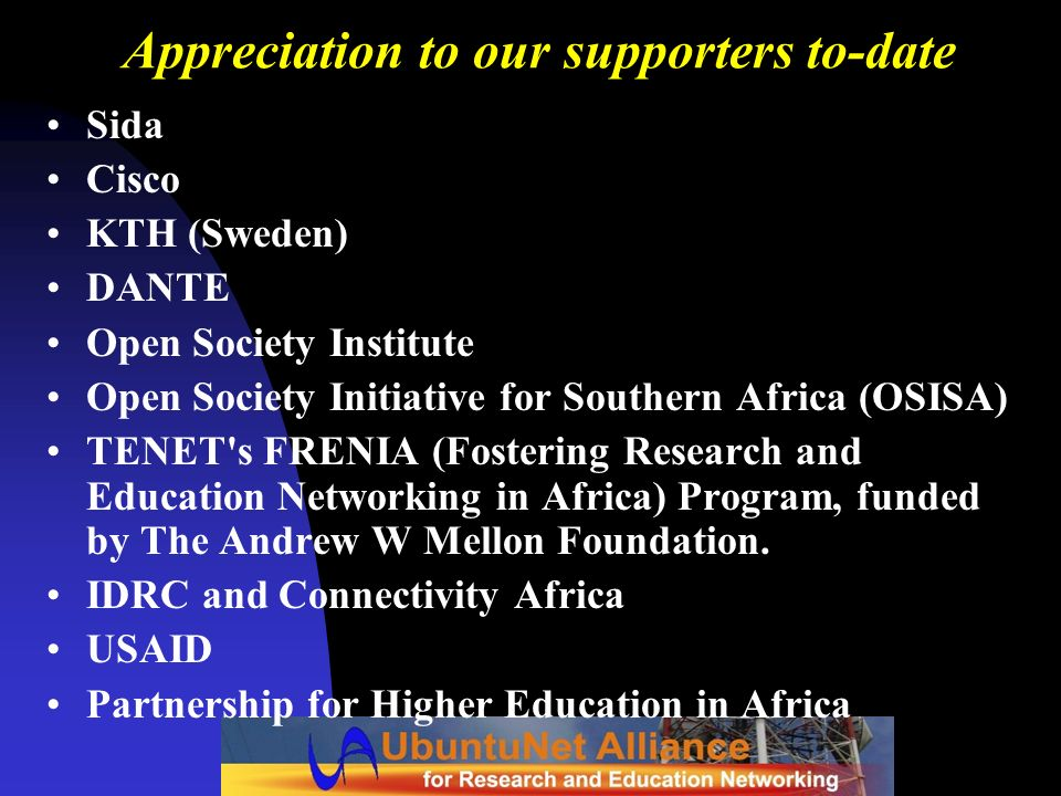 Appreciation to our supporters to-date
