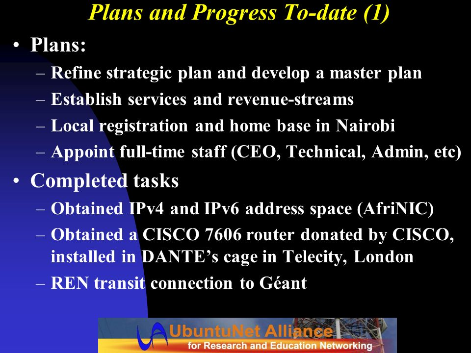 Plans and Progress To-date (1)