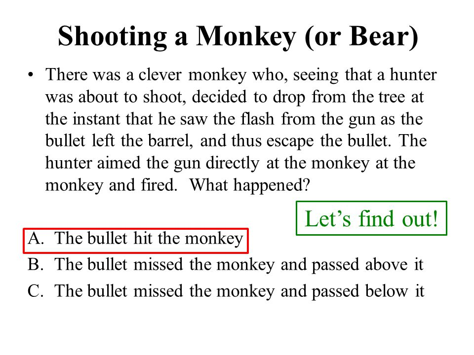 Shooting a Monkey (or Bear)