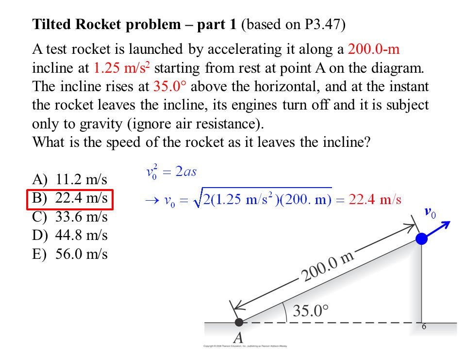 Tilted Rocket problem – part 1 (based on P3.47)