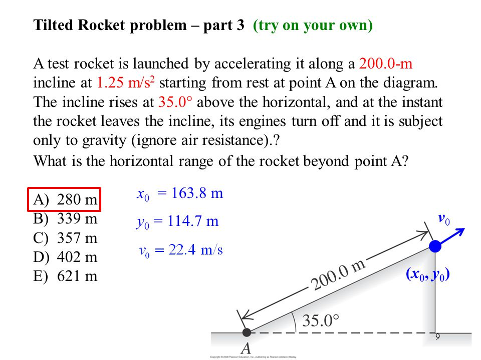 Tilted Rocket problem – part 3 (try on your own)