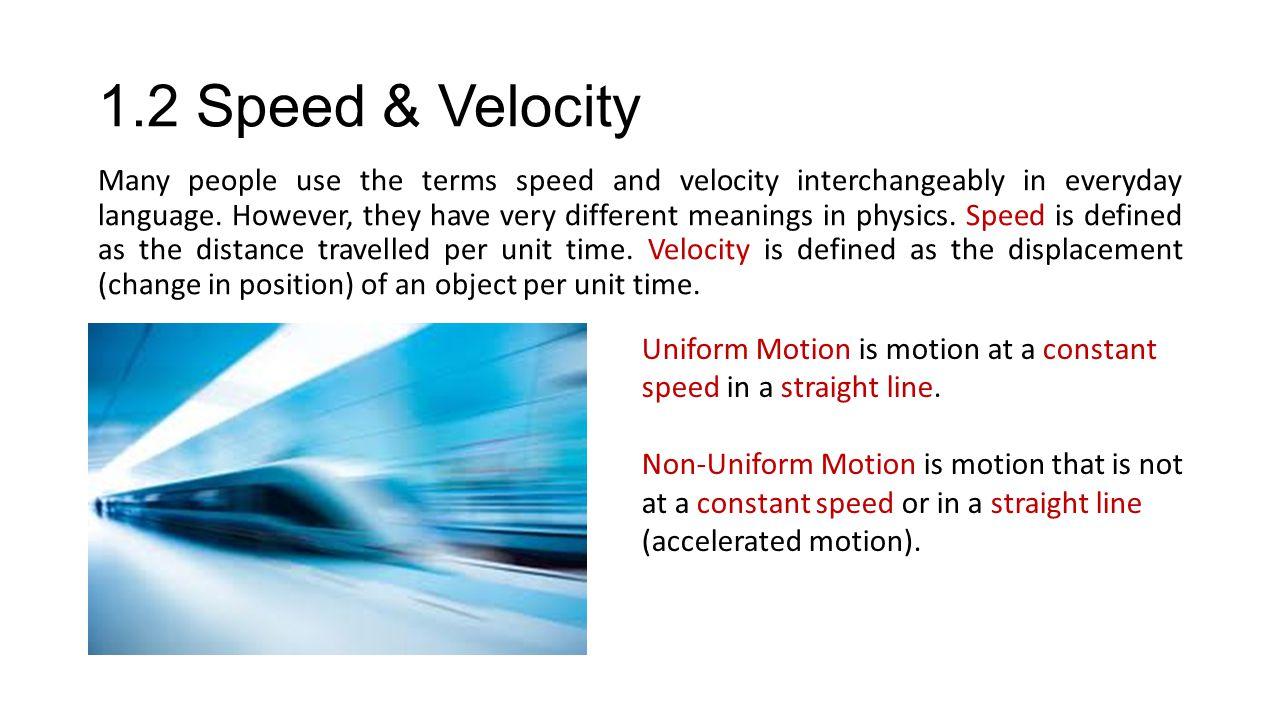 1.2 Speed & Velocity
