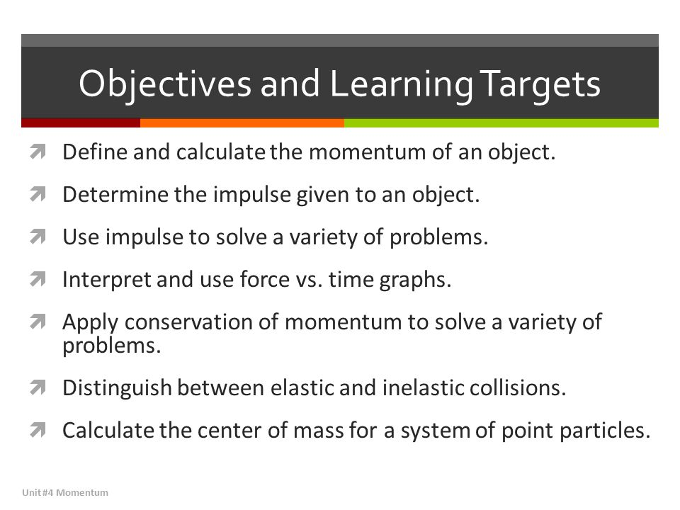 Objectives and Learning Targets