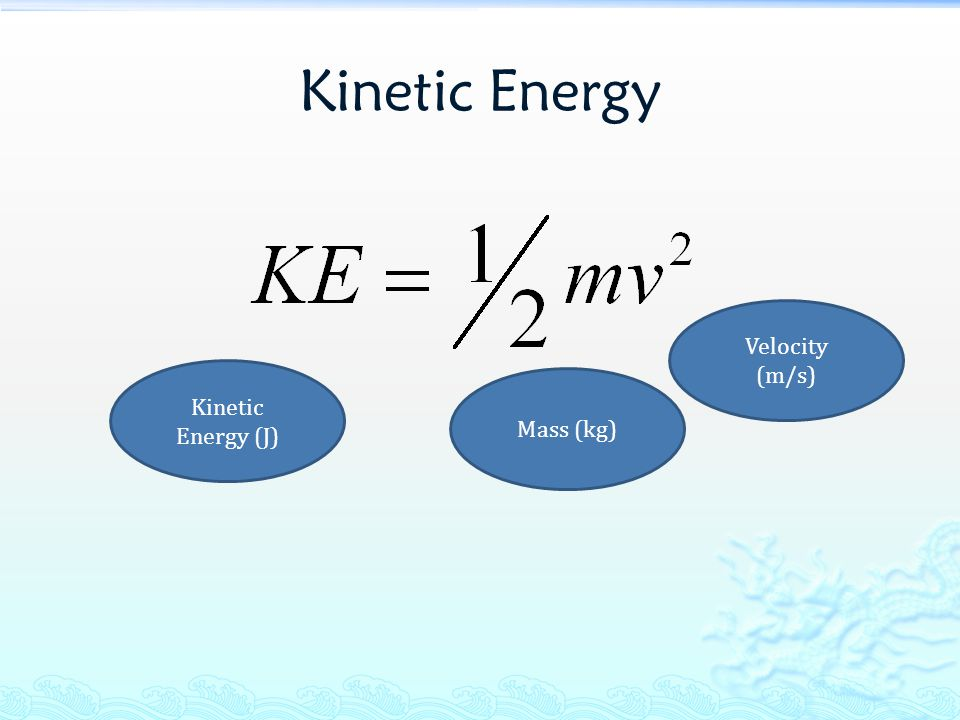 Kinetic Energy Velocity (m/s) Kinetic Energy (J) Mass (kg)