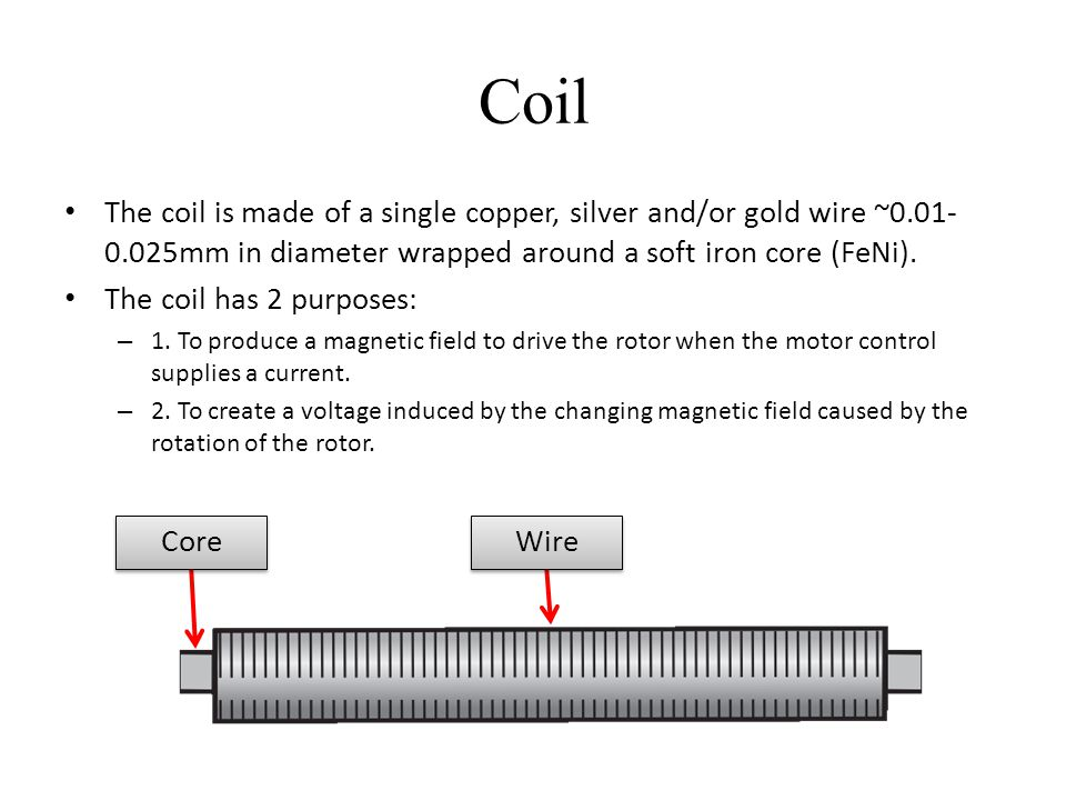 Coil The coil is made of a single copper, silver and/or gold wire ~0.01-0.025mm in diameter wrapped around a soft iron core (FeNi).