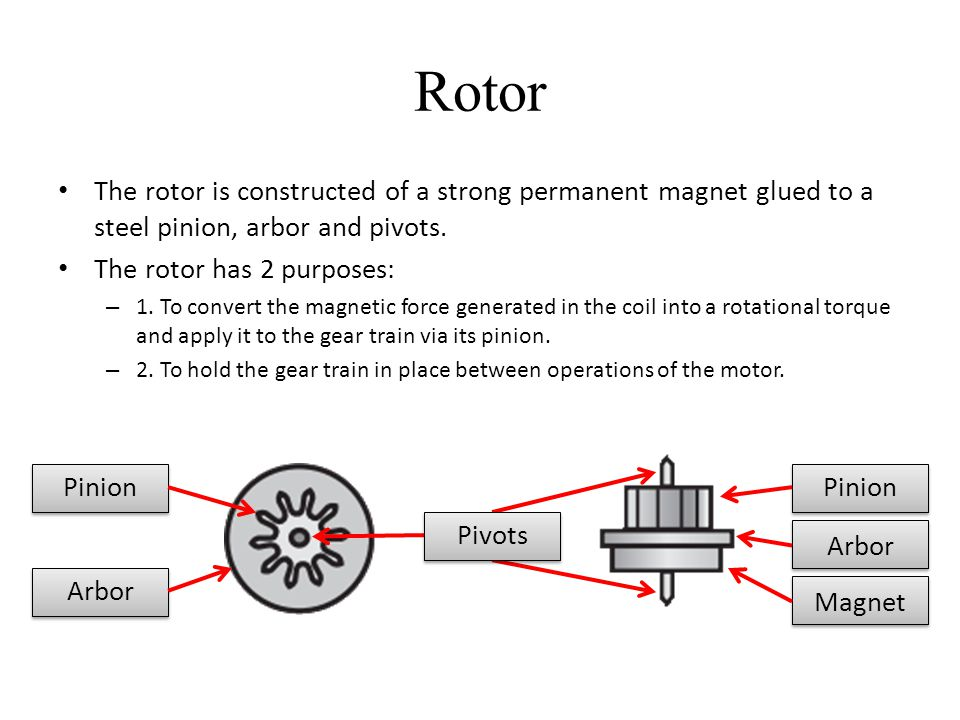 Rotor The rotor is constructed of a strong permanent magnet glued to a steel pinion, arbor and pivots.