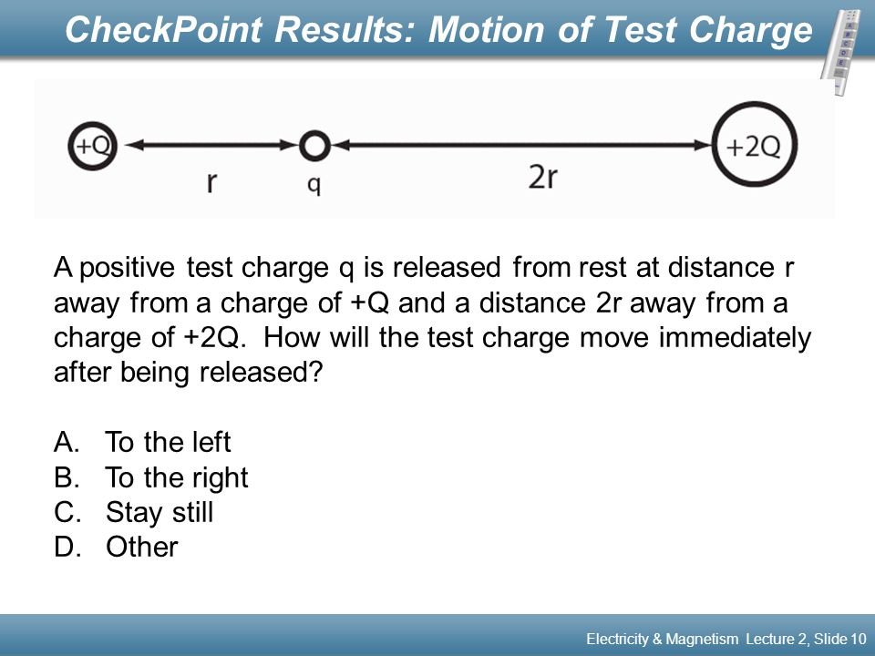 CheckPoint Results: Motion of Test Charge