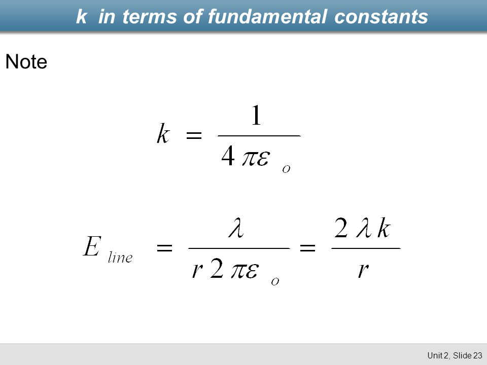 k in terms of fundamental constants