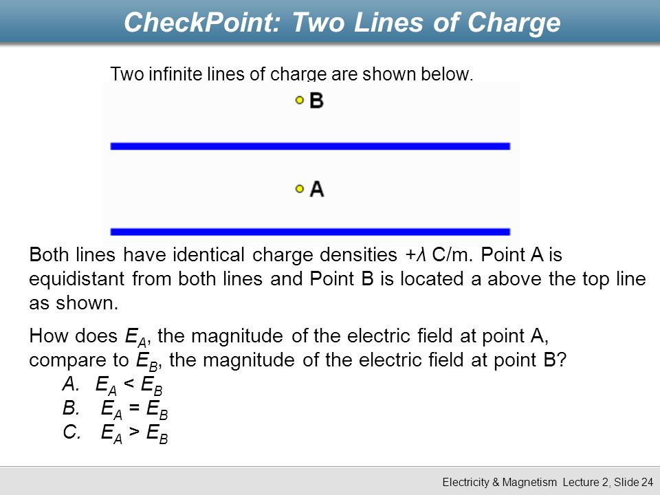 CheckPoint: Two Lines of Charge