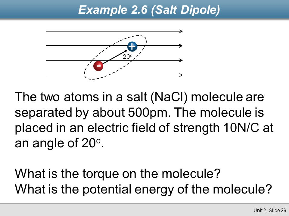 Example 2.6 (Salt Dipole) + 20o. -
