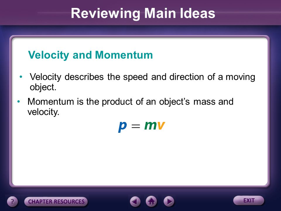 Reviewing Main Ideas Velocity and Momentum